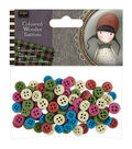 Santoro Gorjuss 100ct Wooden Buttons-Tweed