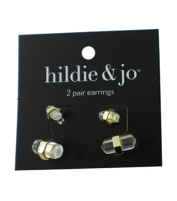 hildie & jo 2 Pack Oblong Crystal Gold Earrings