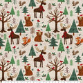 Super Snuggle Flannel Fabric-Christmas Forest Animals