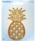Simplicity Embroidered Iron-On Applique-Gold Pineapple