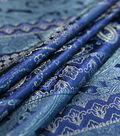 Casa Embellish Brocade Fabric -Navy Linear Paisley