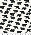Novelty Cotton Fabric 43\u0022-Distressed Black Bear On Cream