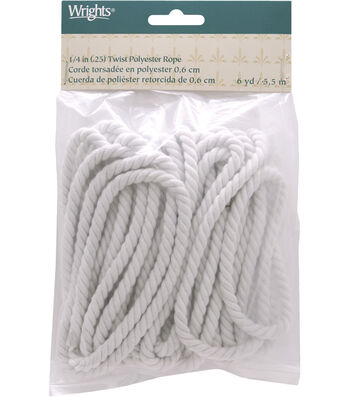 """Wrights 1/4"""" Twist Rope Poly 6 Yds-Matte White"""