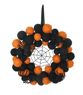Maker's Halloween Yarn Ball Wreath-Orange & Black