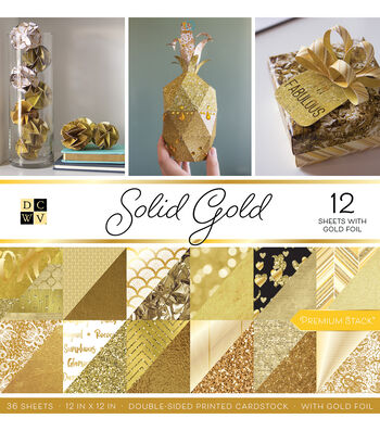 DCWV Pack of 12 12''x12'' Premium Printed Cardstock Stack-Solid Gold