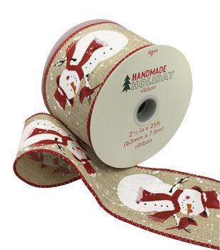 Handmade Holiday Christmas Ribbon 2.5''x25'-Snowmen on Natural