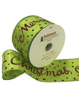 Handmade Holiday Christmas Ribbon 2.5''x25'-Merry Christmas on Lime