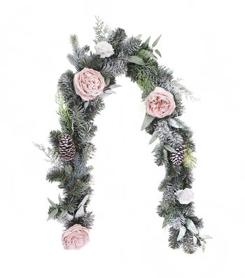 Blooming Holiday Christmas 3''x66'' Frosted Rose & Pinecone Garland