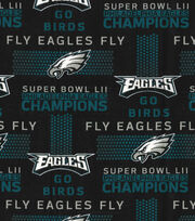 Philadelphia Eagles Cotton Fabric -Champions on Black, , hi-res