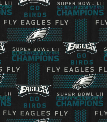 Philadelphia Eagles Cotton Fabric -Champions on Black