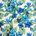 Cotton Shirting Fabric-Blue Tropical Leaves & Hibiscuses on Ivory