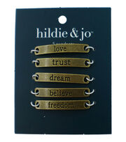 hildie & jo 5 pk Pendants-Inspirational Words on Gold, , hi-res