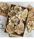 Prima Marketing 32 pk Box Flowers with Tags-Sandstone