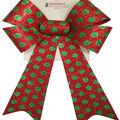 Handmade Holiday Christmas 9\u0027\u0027 Glitter Bow-Green Polka Dots on Red