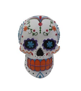 Maker's Halloween Skull Tabletop Decor-Day of the Dead on White