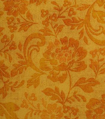 """Harvest Cotton Fabric 43""""-Tonal Floral Vines"""