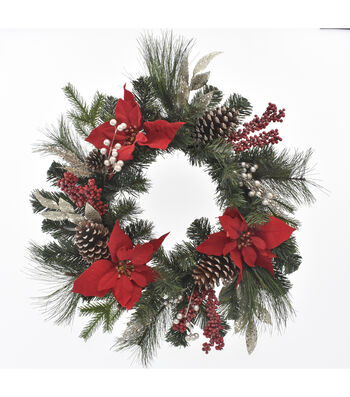 Blooming Holiday Christmas 22'' Red Poinsettia & Pinecone Wreath