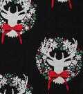 Christmas Cotton Fabric-Deer Wreaths