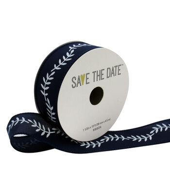 """Save the Date 1.5"""" x 15ft Ribbon-White Fern On Navy"""