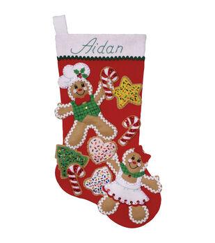 Design Works Gingerbread Friends Stocking Felt Applique Kit