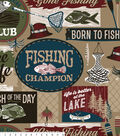 No Sew Fleece Throw 72\u0022-Red & Blue Fishing Words