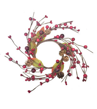Blooming Autumn Berry, Pinecone & Leaf Mini Wreath