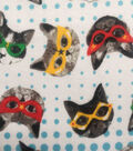 Doodles Juvenile Interlock Knit Fabric 57\u0027\u0027-Cats in Colorful Masks