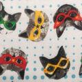 Doodles Juvenile Interlock Knit Fabric 57\u0027\u0027-Cats in Colorful Masks
