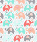 Nursery Cotton Fabric -Coral Dream Big Chevron Elephant