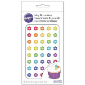 Wilton Royal Icing Decorations 40/Pkg-Mini Rainbow Colored Daisies