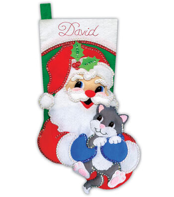 Design Works Crafts 18'' Stocking Applique Felt Kit-Santa with Kitten