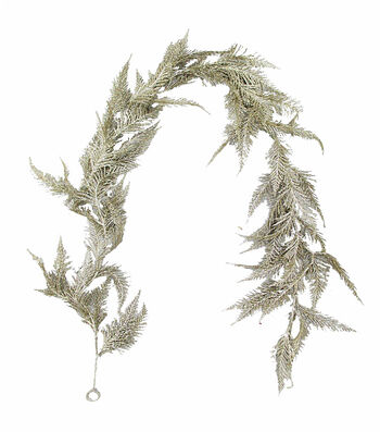 Blooming Holiday Christmas 3''x66'' Glitter Fern Garland-Champagne