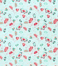 Snuggle Flannel Fabric-Coral Butterflies on Blue