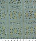 Cotton Shirting Fabric-White & Gold Foil Diamonds