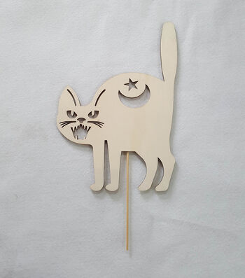 Maker's Halloween Laser Wood-Lawn Cat
