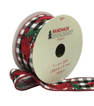 Handmade Holiday Ribbon 1.5''x30'-Cardinals on Black & White Checks