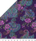 Double Faced Quilt Fabric-Purple Teal Paisley