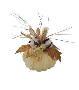 Blooming Autumn Small Cotton & Corn Husk Arrangement in Pumpkin