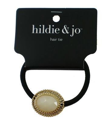 hildie & jo Black Hair Tie with Gold & Ivory Oval Charm