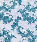 Quinceanera Floral Scroll On Mesh Fabric-Blue Radiance