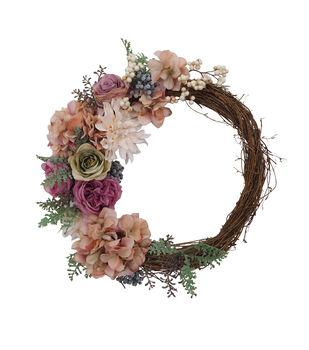 Blooming Autumn Hydrangea, Rose & Dahlia Wreath