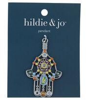 Blue Moon Beads Pendant, Hamsa Hand with enamel, Silver, , hi-res