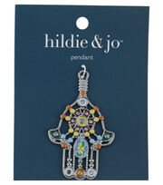 Blue Moon Beads Pendant, Hamsa Hand with enamel, Silver, , hi-res