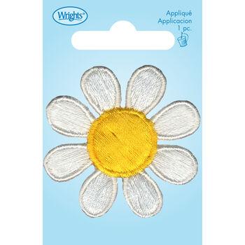 Wrights Iron-On Applique-White/Yellow Daisy