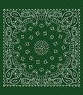 Cotton Bandanna 21\u0027\u0027x21\u0027\u0027-Paisley on Hunter Green