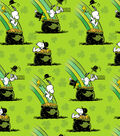 St. Patrick\u0027s Day Print Fabric -Green with Peanuts Pot of Gold