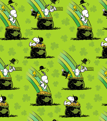 St. Patrick's Day Print Fabric -Green with Peanuts Pot of Gold