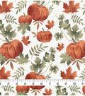 Harvest Cotton Fabric 44\u0022-Autumn Pumpkins on Cream