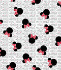 Disney Minnie Mouse Cotton Fabric -Minnie Heads with Bows