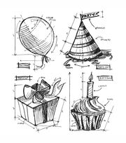 Tim Holtz Cling Rubber Stamp Set-Birthday Blueprint, , hi-res